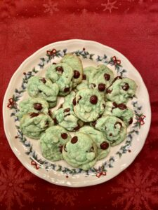 Mint Chocolate Chip Cookies for Christmas