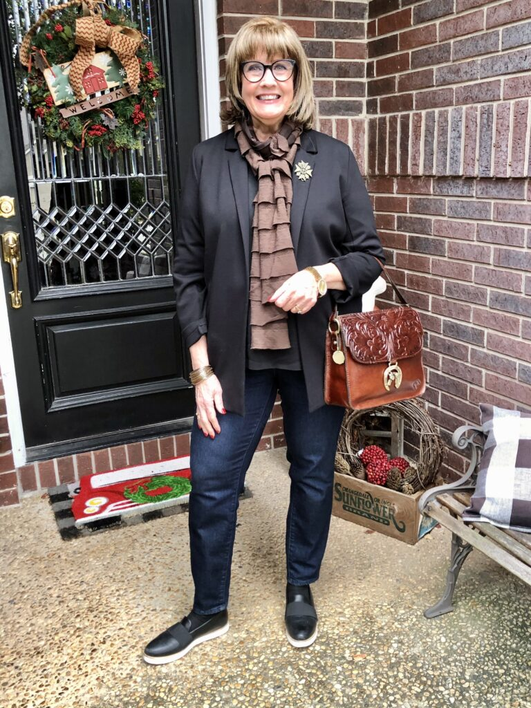 Pamela Lutrell in Eileen Fisher jacket on over 50 Feeling 40
