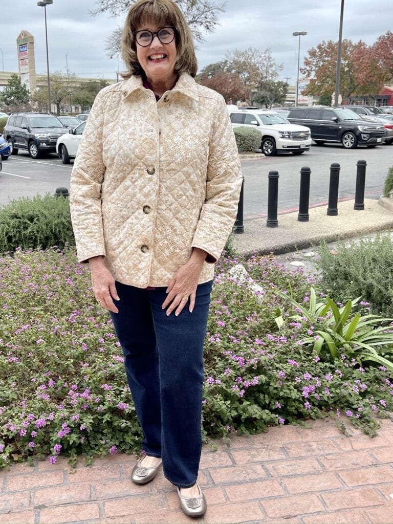 Pamela Lutrell in Lace Print Quilted Chicos jacket