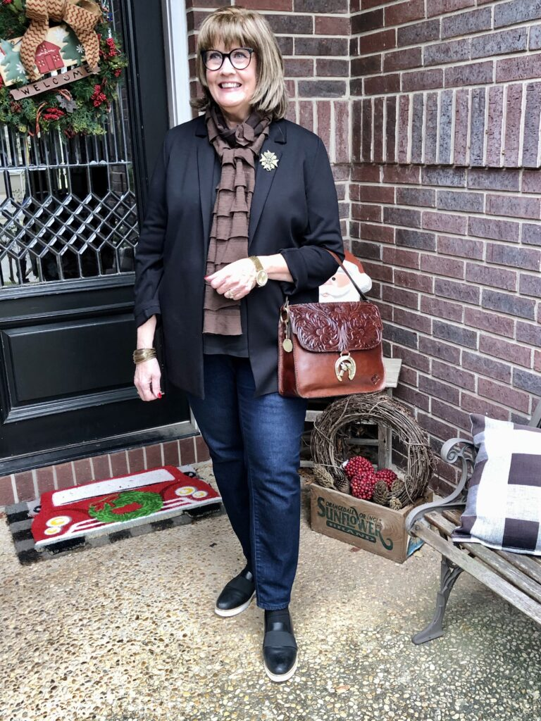 Pamela Lutrell in December look on Over 50 Feeling 40