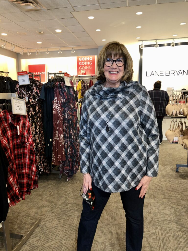 Pamela Lutrell in Plaid at Lane Bryant