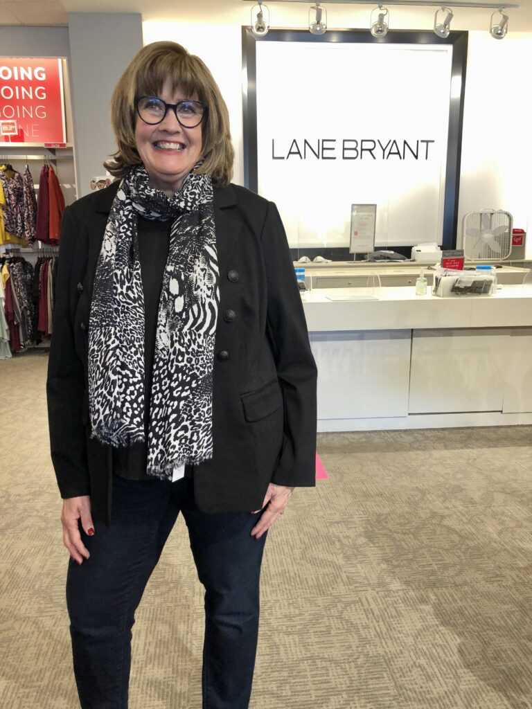 Pamela Lutrell in Lane Bryant jacket
