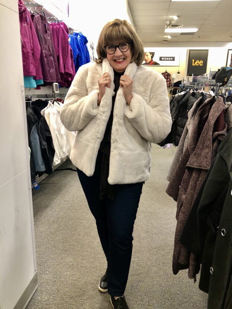 Pamela Lutrell in Vera Wang Jacket in Kohls