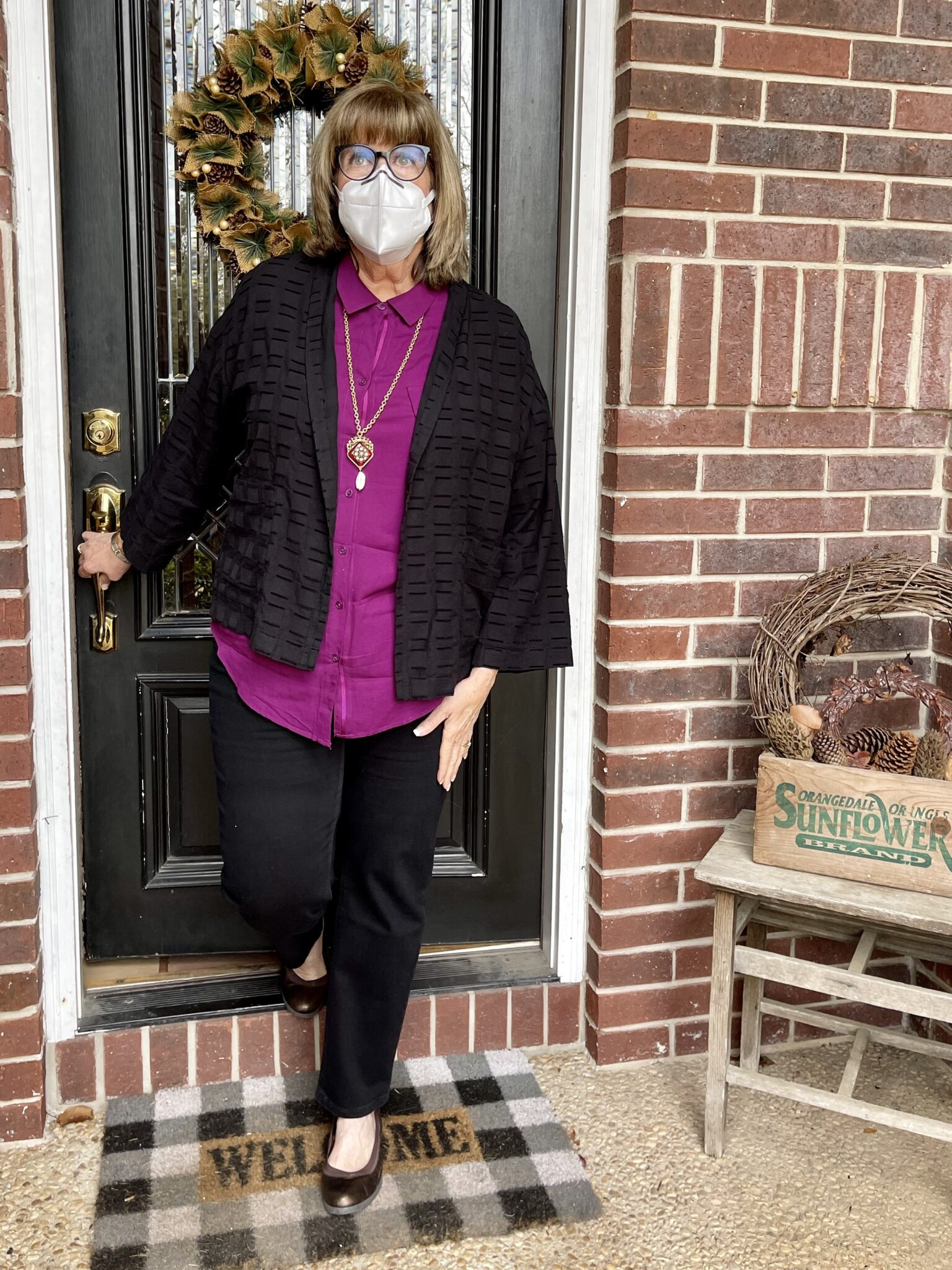 Confident dress in a mask outside of home every day