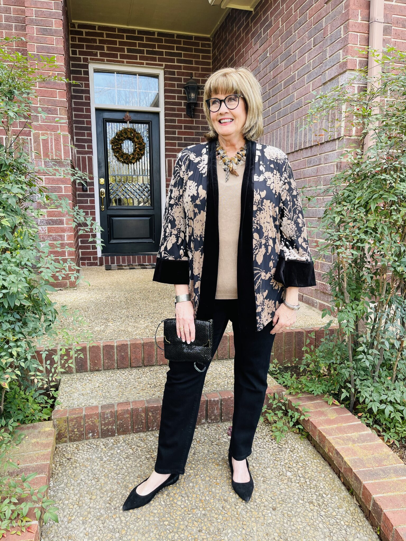 Every day elegance in a Chicos reversible velvet jacket and black jeans