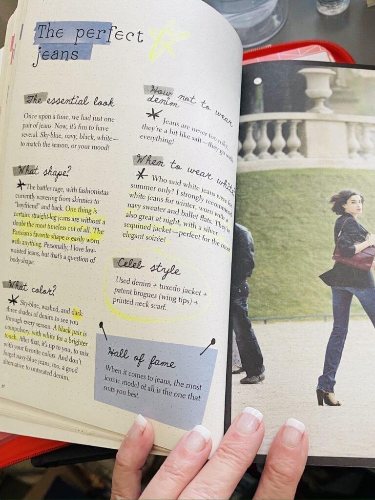 Parisian Chic by Ines de la Fressange on elegance in black jeans