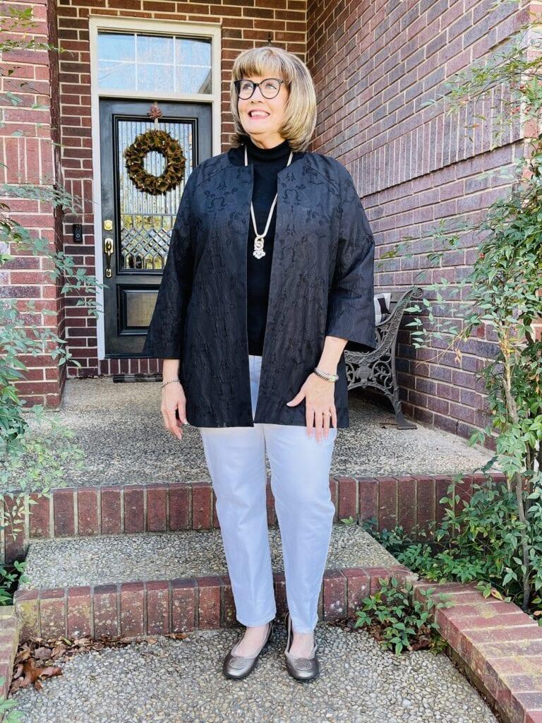 Pamela Lutrell in elegant casual chic style white denim