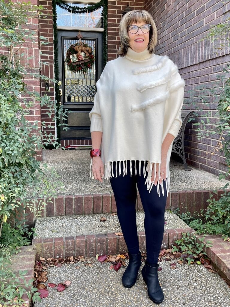 Leonisa Leggings and a poncho on over 50 feeling 40