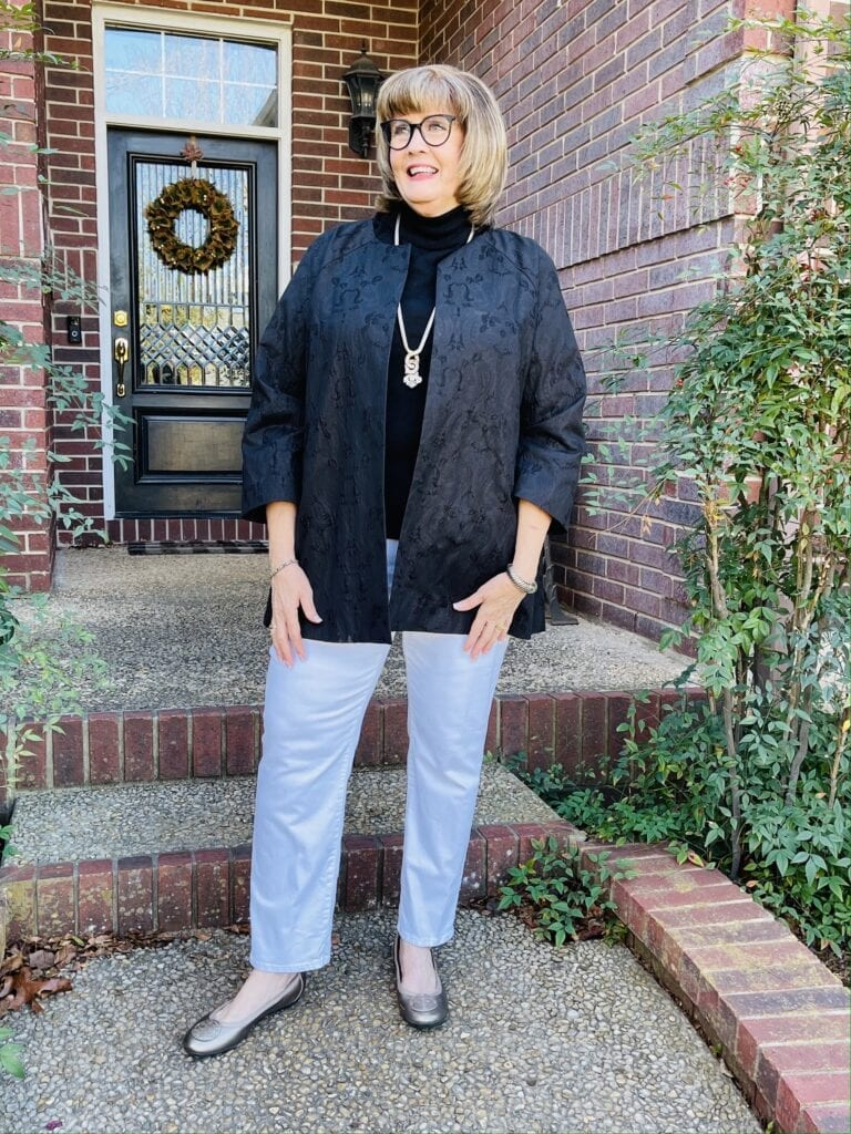 Pamela Lutrell wears elegant casual chic style in Chico's white denim