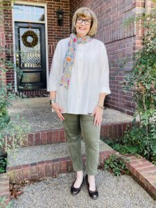 Pamela Lutrell in clothing from Niche in San Antonio