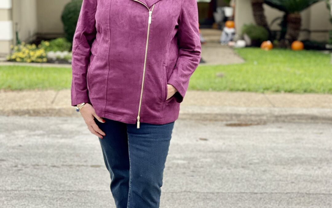 Chico's fall outfit in powerful purple